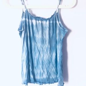 Free People Tie shoulder tank blue & white tie dye